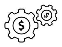 Ícone preto contínuo do dólar da engrenagem ilustração stock