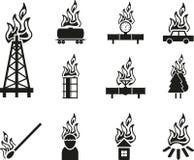 Ícone preto do fogo ilustração stock