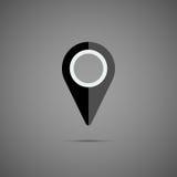 Ícone preto do ponteiro do mapa Fotos de Stock Royalty Free