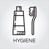 Ícone preto simples do dentífrico e da escova no estilo do esboço ilustração royalty free