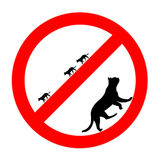 Ícone proibido engraçado dos gatos do sinal de estrada isolado Fotos de Stock