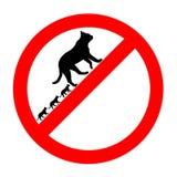 Ícone proibido engraçado dos gatos do sinal de estrada isolado Fotografia de Stock Royalty Free