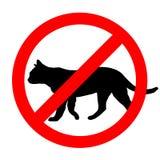 Ícone proibido engraçado dos gatos do sinal de estrada isolado Imagens de Stock Royalty Free