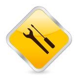 Ícone quadrado amarelo da ferramenta ilustração royalty free