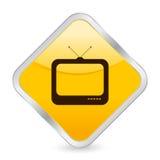Ícone quadrado amarelo da tevê Foto de Stock Royalty Free