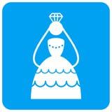 Ícone quadrado arredondado noiva coroado da quadriculação ilustração royalty free