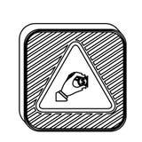 Ícone quadrado da moeda da inserção do sinal de aviso da forma da silhueta ilustração stock