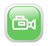 Ícone quadrado verde Glassy da câmara de vídeo Imagem de Stock
