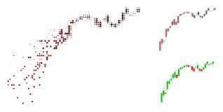 Ícone quebrado da diminuição de Dot Halftone Candlestick Chart Growth ilustração do vetor