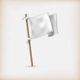Ícone realístico da bandeira branca. Conceito da rendição ilustração do vetor