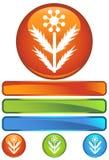 Ícone redondo alaranjado - Weed Imagens de Stock