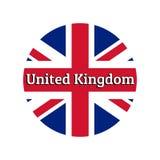 Ícone redondo do botão da bandeira nacional de Reino Unido de Grâ Bretanha Union Jack no fundo branco com ilustração do vetor