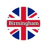 Ícone redondo do botão da bandeira nacional de Reino Unido de Grâ Bretanha Union Jack no fundo branco com rotulação ilustração do vetor