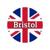 Ícone redondo do botão da bandeira nacional de Reino Unido de Grâ Bretanha Union Jack no fundo branco com rotulação ilustração royalty free