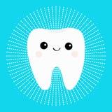 Ícone redondo do dente branco saudável com cara de sorriso Personagem de banda desenhada bonito Linha círculo do traço Higiene de ilustração do vetor