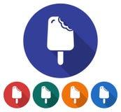 Ícone redondo do gelado mordido ilustração stock