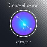 Ícone redondo do vetor com CÂNCER da constelação do zodíaco ilustração do vetor
