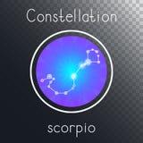 Ícone redondo do vetor com a ESCORPIÃO da constelação do zodíaco ilustração stock