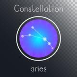 Ícone redondo do vetor com o ÁRIES da constelação do zodíaco ilustração do vetor