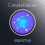 Ícone redondo do vetor com o AQUÁRIO da constelação do zodíaco ilustração stock