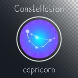 Ícone redondo do vetor com o CAPRICÓRNIO da constelação do zodíaco ilustração do vetor