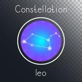 Ícone redondo do vetor com o LEÃO da constelação do zodíaco ilustração royalty free