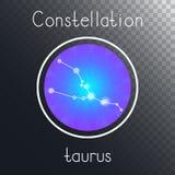 Ícone redondo do vetor com o TOURO da constelação do zodíaco ilustração stock
