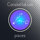 Ícone redondo do vetor com os PEIXES da constelação do zodíaco ilustração do vetor