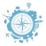 Ícone redondo do vetor da agência de viagens ilustração stock