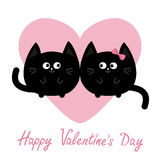 Ícone redondo preto da família dos pares do gato Coração cor-de-rosa Personagem de banda desenhada engraçado bonito Cartão feliz  ilustração stock
