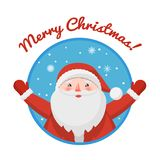 Ícone redondo Santa Claus Imagens de Stock