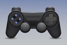 Ícone retro do gamepad e do manche no fundo azul ilustração do vetor