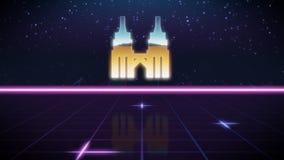 ícone retro do projeto do synthwave de torres de petronas ilustração stock