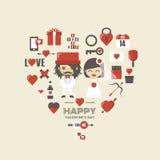 Ícone retro do Valentim ilustração royalty free