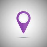 Ícone roxo colorido do ponteiro do mapa Elemento do vetor Fotografia de Stock Royalty Free