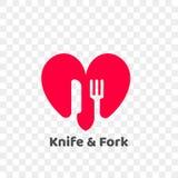 Ícone saudável da faca do logotipo do coração e do alimento da forquilha ilustração do vetor