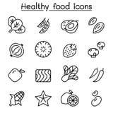 Ícone saudável do alimento ajustado na linha estilo fina ilustração do vetor