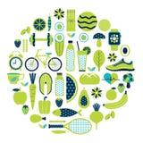 Ícone saudável do estilo de vida ajustado na cor verde ilustração stock