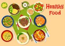Ícone saudável dos pratos do jantar para o projeto do alimento ilustração do vetor