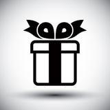 Ícone simples da cor da caixa de presente único isolado no backg branco Imagens de Stock