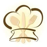 Ícone simples do restaurante com chapéu e cutelaria do cozinheiro chefe Fotografia de Stock