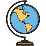 Ícone simples do vetor de um globo clássico da escola no estilo liso Pixel perfeito Elemento da instrução primária Foto de Stock Royalty Free