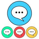 Ícone simples, liso, circular da bolha do discurso Ícone da conversação/da fala Quatro variações ilustração stock