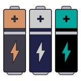 Ícone simples, liso da bateria Sinal positivo e um parafuso de relâmpago Três variações da cor imagens de stock