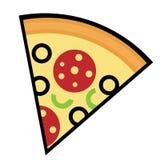 Ícone simples, liso da fatia da pizza, esboçado no preto Isolado no branco ilustração royalty free