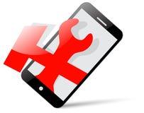 Ícone: smartphone e ferramentas para o reparo Imagem de Stock