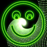 Ícone smily da luz do sorriso do disco no verde de néon Foto de Stock