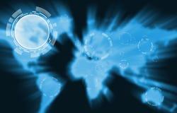 Ícone sobre o mapa de mundo azul Imagens de Stock Royalty Free
