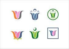 Ícone social do logotipo do sócio da equipe da rede da ioga dos lótus da flor do logotipo de W Foto de Stock Royalty Free