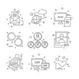 Ícone social dos meios Os símbolos dos povos da comunidade da Web do grupo que aprendem falar imagens lineares dos avatars das fo ilustração do vetor